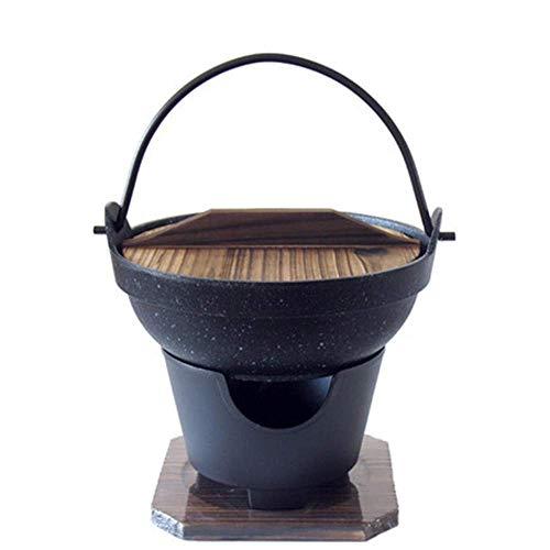 DBSCD Japanese Shabu Hot Pot Nabe mit Holzdeckel und Kochherd,Gusseisentopf,Kocherset,Deckel,Style Single Serving Sukiyaki