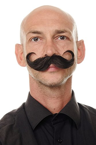WIG ME UP - MU11-5 Bart aus Echthaar Schnurrbart geschwunge Spitzen Zwirbelbart braun