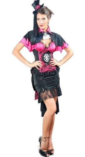 Gothic Victorian Burlesque Lolita Kleid Vampir Kostüm mit Skull Appl. inkl. - Victorian Burlesque Kostüm