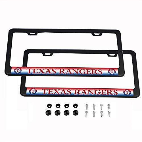 Texas License Plate Frames (CHNNFC MLB Kennzeichenrahmen, leicht, pulverbeschichtetes Aluminium, Schwarz, 2 Stück, Texas Rangers)