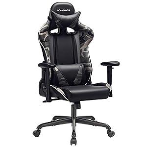 SONGMICS Gamingstuhl, Bürostuhl mit hoher Rückenlehne, Computerstuhl, Racing Chair, gepolsterter Sitz, Kopfstütze und Lendenkissen verstellbar, fürs Büro, Arbeitszimmer, schwarz-Tarnfarben RCG47BG