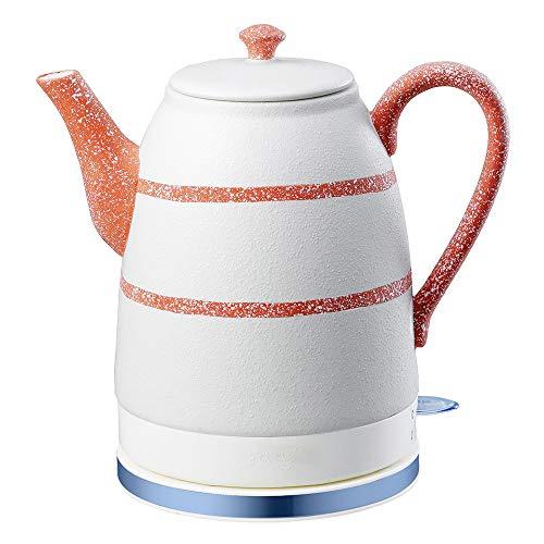 SONGYANG Wasserkocher Elektrische Keramik Weißer Wasserkocher Teekanne-Retro Automatische Abschaltung Ruhiges schnelles Kochen für Kaffee, Tee, Suppe 1.6L 1500W,Red (Tee-und Wasserkocher Ruhigen)