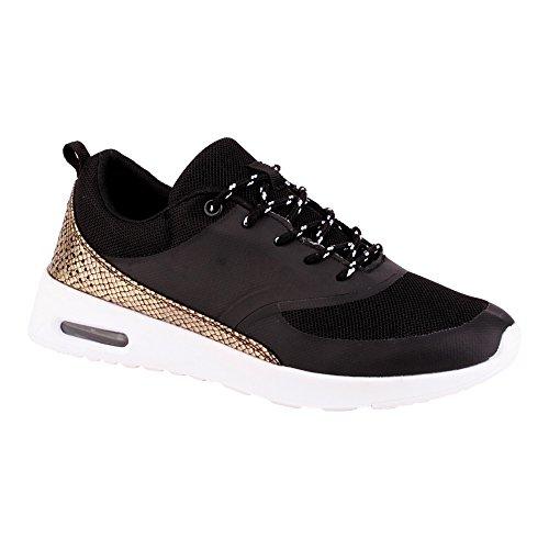 Herren Damen Sneaker Sportschuhe Lauf Freizeit Fitness Low Unisex Schuhe Schwarz/Gold/Damen EU 38