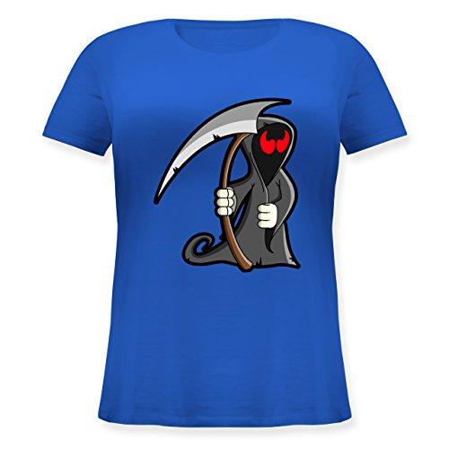 Halloween - Sensenmann - L (48) - Blau - JHK601 - Lockeres Damen-Shirt in großen Größen mit Rundhalsausschnitt