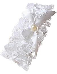 Fashion Accessory Jarretière en dentelle avec nœud en ruban blanc cassé et perle au centre pour mariage