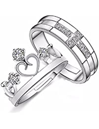 Unnati Creation Sterling Silver Plated Adjustable Proposal Rings For Girls And Boys