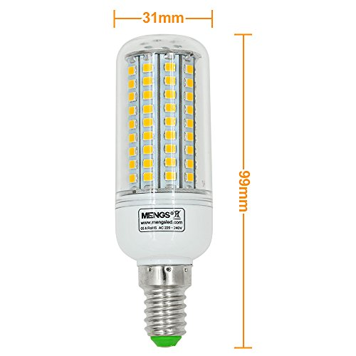 2X MENGS® E14 12W LED lampe Leuchtmittel & Birne Mais Licht 102 x 2835 SMD LEDs Mit PCB-Mantel (750LM, AC 220-240V, Warmweiß 3000K, 360º Abstrahlwinkel, Ø32×96mm) Energiespar licht - 6