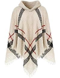 Ferand Warmer Weicher Karierter Damen Poncho-Pullover mit Kapuze oder Rollkragen