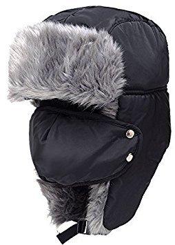 BXT Unisex Damen Herren Winter-Mütze / Haube im Piloten-Stil mit Kunstfell, abnehmbare Gesichtmaske, Ohrenklappen Einheitsgröße schwarz - Fleece-flap Hat