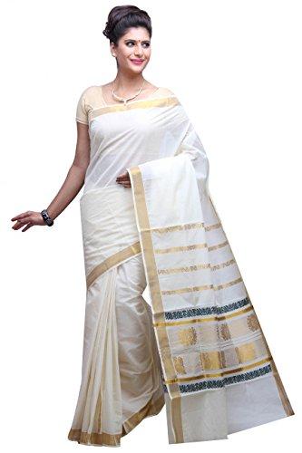 Fashionkiosks Kerala Kasavu Cotton weaved Saree with Blouse