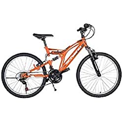 F.lli Schiano Rider Full Suspension Shimano Vélo Homme, Orange/Blanc, Taille 20""