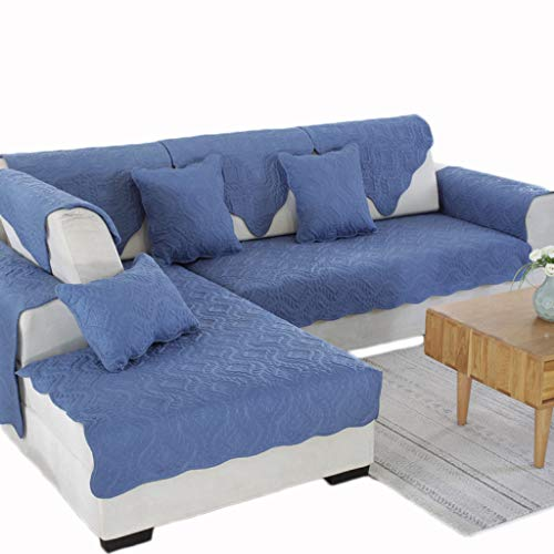 ALYR Sofa üBerzug Ecksofa, Reversible Gesteppte, abschnittsweise Couchüberzug für Hunde, Haustiere,Blue_35x83inch