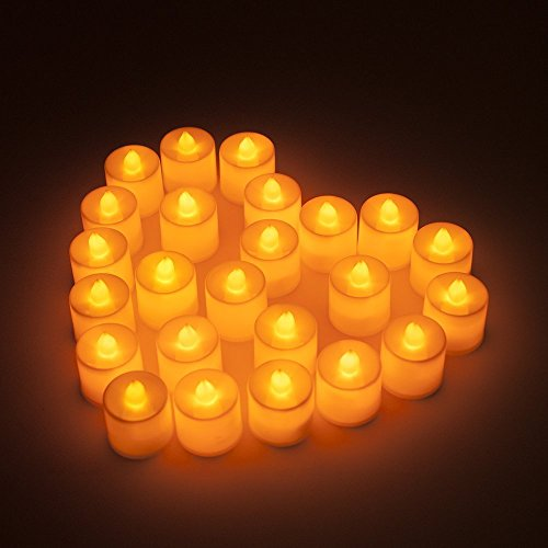 YOEEKU Sin llama LED de la luz del té Velas realistas con pilas velas sin aroma velas Candelitas falsas LED (24)