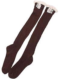 ShiyiUP Trachtenstrümpfe Frauen Kniestrümpfe Oktoberfest Damen Hohe Socken mit Zopfmuster Stiefel Dirndlstrümpfe