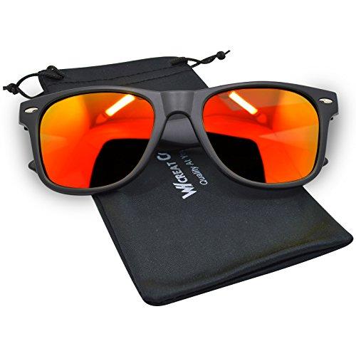 Whcreat wayfarer unisex occhiali da sole polarizzati cerniera a molla cornice opaca uv 400 lente di protezione - nero opaco telaio rosso lente
