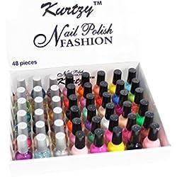 Pack de 48 Esmaltes de Uñas de 8 ml para Manicura/Pedicura Brillo Mate de Moda de KurtzyTM
