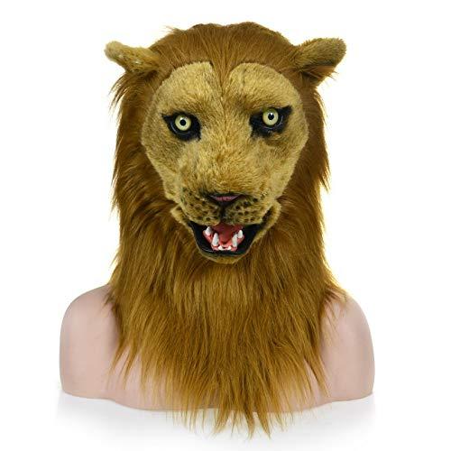 ke, Maskerade Halloween Karneval Geburtstagsfeier Kostüm Realistisch Handgemacht Maßgeschneiderte Tier Cosplay Beweglicher Mund mit Fell Verziert (Color : Brown, Size : 25 * 25) ()