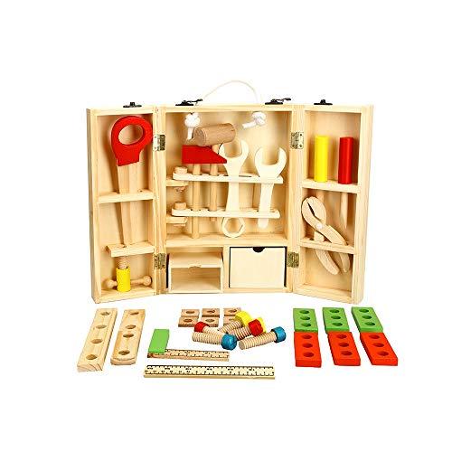Pkjskh Kinder Reparatur Toolbox Boy Holz Demontage Mutter Spielzeug aus Holz tragbare Simulation Tool Kit Set 3 Jahre alte Kinder logisches Denken Training Spielzeug (Boy Badewanne Spielzeug)