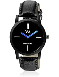 Watch Me Black Dial Black Leather Strap Watch For Boys WMC-002