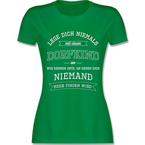 Sprüche - Lege Dich Niemals mit Einem Dorfkind An - XXL - Grün - L191 - Damen T-Shirt Rundhals (Grünes T-shirt Lustiges)