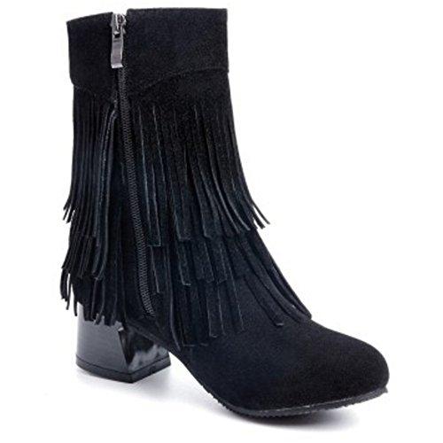 TAOFFEN Damen klassische Blockabsatz Schuhe der koreanischen Art gesäumten Stiefel mit seitlichem Reißverschluss Schwarz