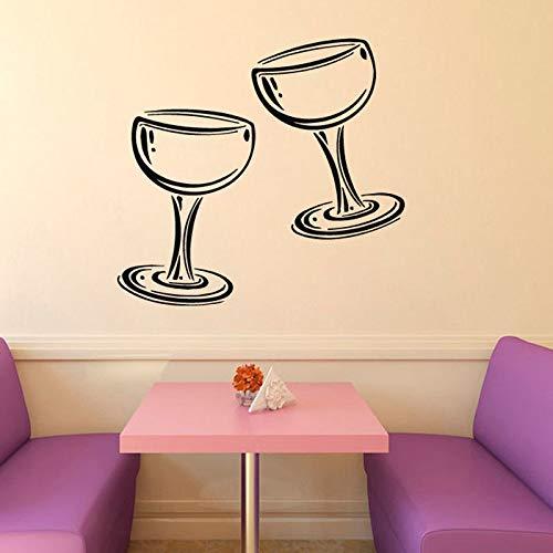 Zwei Gläser Wein Champagner Wandaufkleber Küche Cafe Wohnzimmer Home Interior Design Wand Vinyl Aufkleber Aufkleber, Lila, 44cmx44cm (Champagner-gläser Lila)
