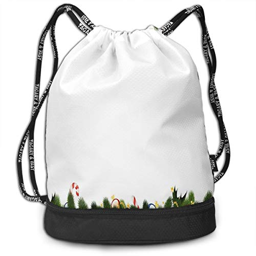 Mess-cane (LULABE Printed Drawstring Backpacks Bags,Fir Tree Branches with Christmas Theme Candy Canes Baubles Festive Winter Holiday,Adjustable String Closure)