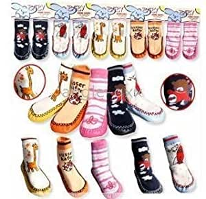 bargainz home socks with anti skid sole -pink with flowers size 6-12 months.....other sizes and designs also available