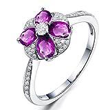 KnSam Ring Sterling Silber 925 Damen Trauringe Blume mit Echt Amethyst Jahrestag Geschenk für Frauen Mutter Gr.55 (17.5) Modeschmuck