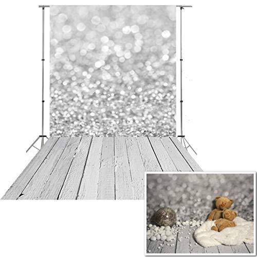 NIVIUS PHOTO® 150*300CM grau Bokeh Studio foto hintergrund backfrop aus dünnem vinyl gedruckt mit weißen boden für neugeborene d-9732 (Photo Booth Hintergrund)
