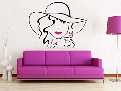ziweipp 3D Poster Gesicht Make-Up Aufkleber Lippen Augen Vinyl wandaufkleber Mädchen Frau Hand Maniküre Nagel Wohnkultur Schönheitssalon Wandbild 42 * 51 cm - Großen, Glatten Gesicht