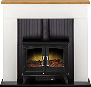 Adam Innsbruck Stove Suite in Pure White with Woodhouse Electric Stove in Black, 48 Inch