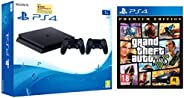 Sony PS4 1TB Slim Console with Additional Dualshock Controller (Black)&Grand Theft Auto V – Pre