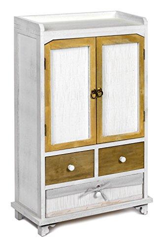 ts-ideen Landhaus Kommode Schrank Holz Shabby Look Weiss Used Optik dunkle Türen und Schubladen -