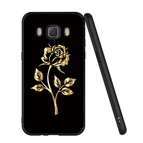 ZhuoFan Coque Samsung Galaxy J5 2016, Etui en Silicone Noir avec Motif 3D Fun Fantaisie Dessin Antichoc Souple TPU Housse de Protection Case Cover Bumper Coque pour Téléphone SamsungJ5, Or Rose