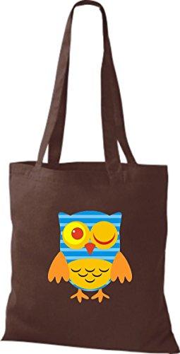 Jute Eule Owl Tragetasche Farbe Bunte braun niedliche ShirtInStyle Retro Stoffbeutel diverse 1WqwFpxRa