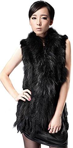 Vogueearth Femme'Réel Knit De Lapin Fourrure Longue Gilet Sans Manche with Raton Laveur FR 40 Noir