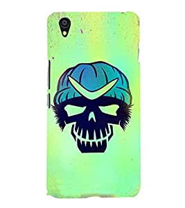 Fuson Premium Back Case Cover Skull With Blue Background Degined For One Plus X::One + X