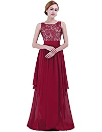 IEFIEL Vestido Largo Mujer para Dama de Honor Vestido Encaje Floreado de Noche Vintage Vestido de