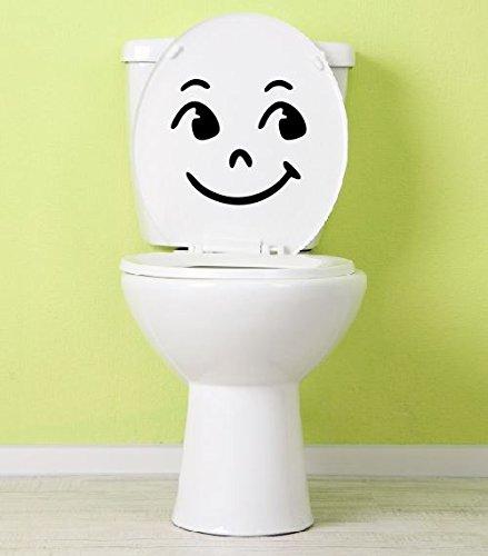 Aufkleber Smiley Toilette lachendes Klo Klodeckel Toilettendeckel 25 x 23 cm
