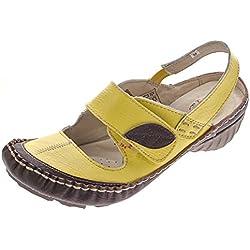 Leder Pumps Sandaletten Damen Schuhe Gelb Comfort Ballerinas Gr. 39