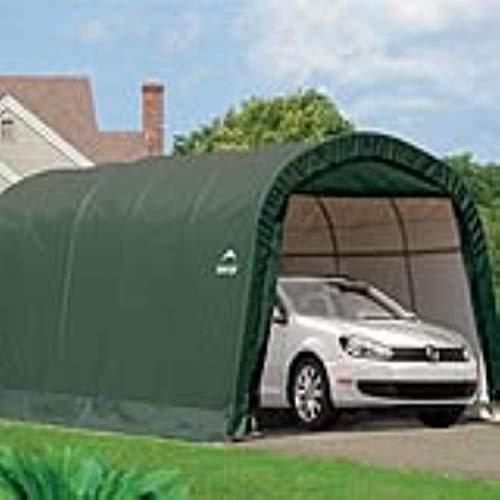 ShelterLogic Round Frame Garage-in-a-Box Foliengarage Foliengerätehaus 18,3m² // 300 x 610 x 240 cm (BxTxH); Aufbewahrungsschuppen