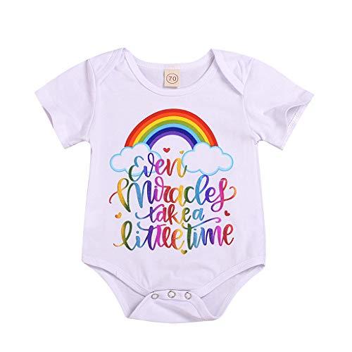 Kinder Mädchen Kleidung, Oyedens Kinder Kurzarm-T-Shirt Regenbogen Lieben Print Jumpsuit Strampler Kleidung Zeit (Twin-halloween-kostüm-ideen Mädchen Junge)