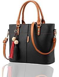 Fargo Flames PU Leather Women's Satchel Handbag (Black_FGO-126)