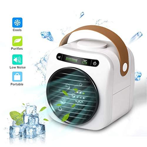 4 In 1 Mobile Klimaanlage, Persönlicher Mini Klimageräte USB Tragbar Luftkühler Ventilator Luftbefeuchter und Luftreiniger mit 3 Geschwindigkeiten LED Digitalanzeige füR Home Office Draussen