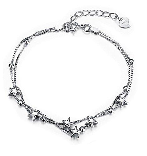 Armband Damen Silber Stern Armkette Kette Frauen Schmuck mit 925 Sterling Silber Freundschaft Geschenk für Mädchen Teenager (Kette Lange Armband)