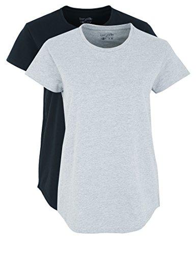 Berydale Damen T-Shirt Bd324, Mehrfarbig (Hellgrau Melange/Schwarz Hellgrau Melange/Schwarz), S (Hellgrau T-shirt)