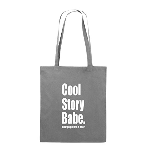 Comedy Bags - Cool Story Babe now get me a beer - Jutebeutel - lange Henkel - 38x42cm - Farbe: Schwarz / Silber Dunkelgrau / Weiss