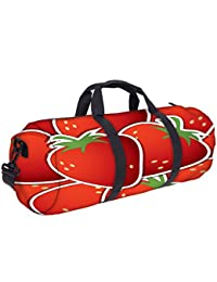 Snoogg Strawberry Sticker Background Card In Vector Format Gym Bag, Sports Duffel Bag, Fitness Workout Yoga Bag...