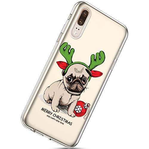 Kompatibel mit Handytasche Huawei P20 Weihnachten Silikon Hülle Crystal Clear Durchsichtige Hülle Ultradünn Transparent Handyhüllen TPU Bumper Case Cover,Hund